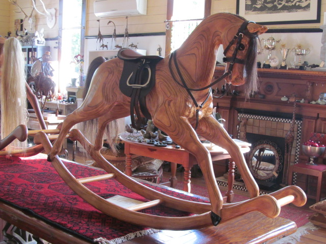 Birdwoods gallery sculpture garden sweet shop for Hand crafted rocking horse